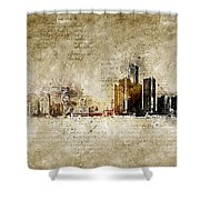 skyline of Detroit in modern and abstract vintage-look Shower Curtain