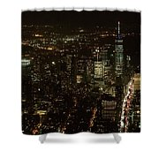 Skyline Of New York City - Lower Manhattan Night Aerial Shower Curtain