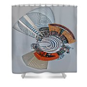 skyline of Uptown charlotte mini planet in winter Shower Curtain
