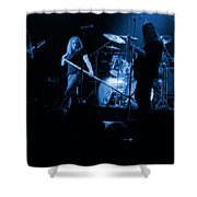 Skynyrd Sf 1975 #10 Crop 2 Enhanced In Blue Shower Curtain