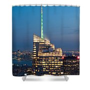 Skyscraper Lit Up At Night, One World Shower Curtain