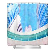 Skyscrapers Against Blue Sky Shower Curtain
