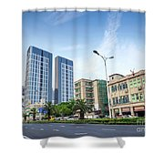Skyscrapers And Road In Downtown Xiamen City China Shower Curtain