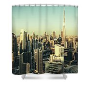 Skyscrapers Of Dubai At Sunset Shower Curtain
