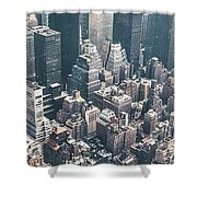 Skyscrapers View From Above Building 83641 3840x1200 Shower Curtain