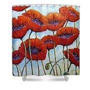 Skyward Poppies Shower Curtain