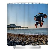 Slacklining On Aberystwyth Beach Shower Curtain