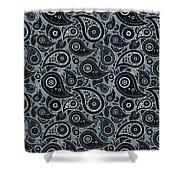 Slate Gray Paisley Design Shower Curtain