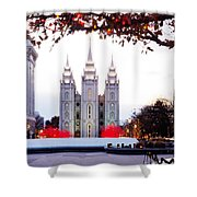 Slc Temple Red And White Shower Curtain