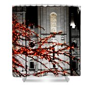 Slc Temple Red White N Black Shower Curtain by La Rae  Roberts