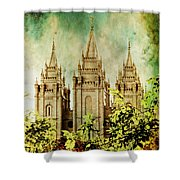 Slc Vintage Green Shower Curtain by La Rae  Roberts