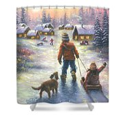 Sledding To The Village Shower Curtain