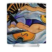 Sleeping Cellists Shower Curtain by Valerie Vescovi