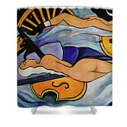 Sleeping Cellists Shower Curtain