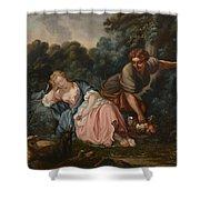 Sleeping Maiden In A Woodland Landscape Shower Curtain
