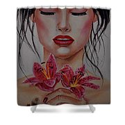 Sleeping With Flowers Shower Curtain