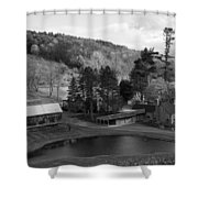 Sleepy Hollows Farm Woodstock Vermont Vt Pond Black And White Shower Curtain