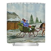 Sleigh Ride Shower Curtain by Charlotte Blanchard