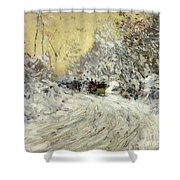 Sleigh Ride In Central Park Shower Curtain by Childe Hassam