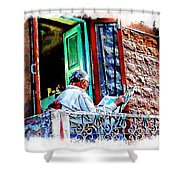 Slice Of Life Sunny Sunday Morning Newspaper India Rajasthan Udaipur 2a Shower Curtain