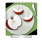 Sliced Apple Shower Curtain