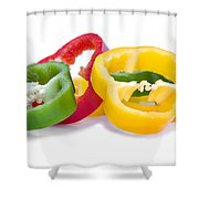 Sliced Colorful Peppers Shower Curtain
