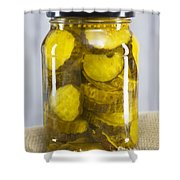 Sliced Pickles In Clear Glass Jar Shower Curtain