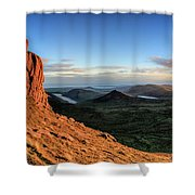 Slieve Bearnagh Rusty Golden Sunset Shower Curtain
