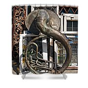 Slightly Worn Out Vintage Tuba Seeks New Home Shower Curtain