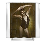 Slim Girl In Bathing Suit Shower Curtain