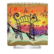 Slinky Cat Shower Curtain