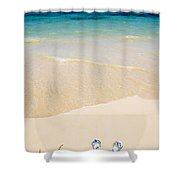Slippers In The Sand Shower Curtain