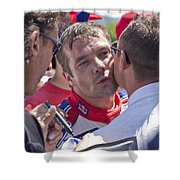 S.loeb 2 Minutes After Winning Wrc Rally Bulgaria 2010 Shower Curtain