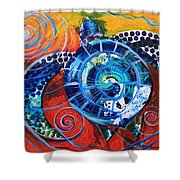 Slopical Tropical Sea Turtle Shower Curtain