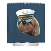 Sloth Aviator Glasses Captain Hat Sloths In Clothes Shower Curtain