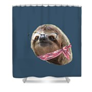 Sloth Black Glasses Red Scarf Sloths In Clothes Shower Curtain