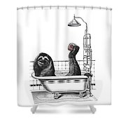 Sloth In Bathtub Taking A Shower Shower Curtain
