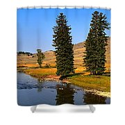 Slough Creek Afternoon Panrama Shower Curtain
