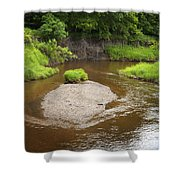 Slow River In Deep Forest Landscape Shower Curtain