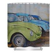 Slugbug Green Shower Curtain
