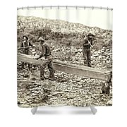 Sluice Box Placer Gold Mining C. 1889 Shower Curtain by Daniel Hagerman