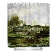 Sluice In The Optevoz Valley Shower Curtain