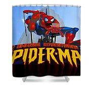 Spider Man Ride Sign.  Shower Curtain