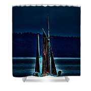 Small Among The Tall Ships Shower Curtain