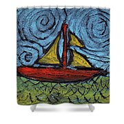 Small Boat With Yellow Sail Shower Curtain