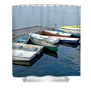 Small Boats Docked To A Pier Shower Curtain
