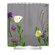 Small Butterflies Sipping Flower Nectar Shower Curtain