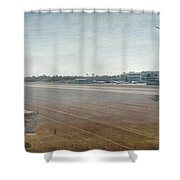 Small City Airport Plane Taking Off Runway Shower Curtain
