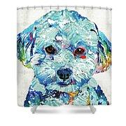 Small Dog Art - Soft Love - Sharon Cummings Shower Curtain by Sharon Cummings