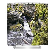 Small Falls At Boulder Cave Shower Curtain